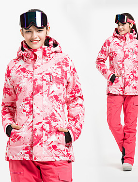 cheap Sports & Outdoors-Vector Women's Ski Jacket with Pants Skiing Ski / Snowboard Downhill Thermal / Warm Waterproof Windproof Cotton POLY Winter Fleece Jacket Bib Pants Ski Wear