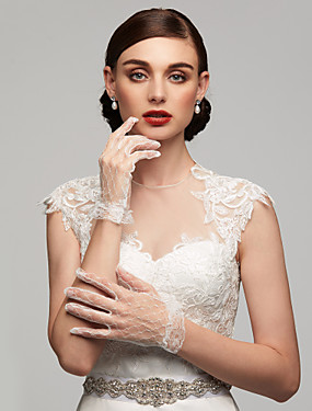 cheap Party Gloves-Lace / Elastic Satin / Cotton Wrist Length Glove Charm / Stylish / Bridal Gloves With Embroidery / Solid