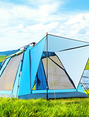 cheap Sports & Outdoors-BSwolf 4 person Screen Tent Screen House Outdoor Windproof Rain Waterproof Breathability Double Layered Automatic Camping Tent 1500-2000 mm for Fishing Beach Camping / Hiking / Caving Tulle Oxford