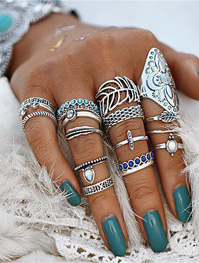 cheap Fashion Rings-Couple's Ring Nail Finger Ring Midi Ring Turquoise 18pcs Silver Acrylic Alloy Geometric Statement Ladies Bohemian Halloween Evening Party Jewelry Retro Hollow Out Leaf Flower Cool Lovely