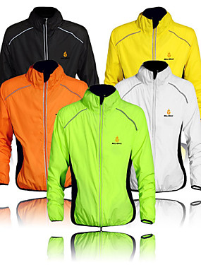 cheap Sports & Outdoors-WOLFBIKE Men's Cycling Jacket Bike Windbreaker Top Windproof Quick Dry Ultraviolet Resistant Sports Polyester Orange / Yellow / Green Mountain Bike MTB Road Bike Cycling Clothing Apparel Advanced