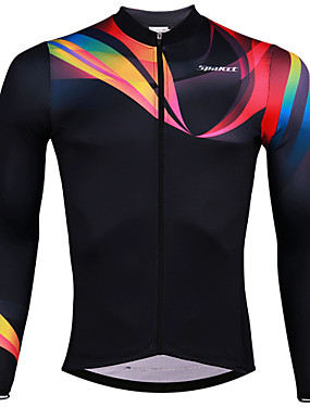 cheap Sports & Outdoors-SPAKCT Men's Long Sleeve Cycling Jersey Black Stripes Bike Jersey Top Breathable Moisture Wicking Quick Dry Sports Elastane Polyster Mountain Bike MTB Road Bike Cycling Clothing Apparel / Stretchy