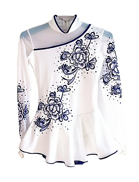 cheap Sports & Outdoors-Figure Skating Dress Women's Girls' Ice Skating Dress White Flower Spandex Micro-elastic Professional Competition Skating Wear Floral / Botanical Fashion Rhinestone Long Sleeve Latin Dance Folk Dance
