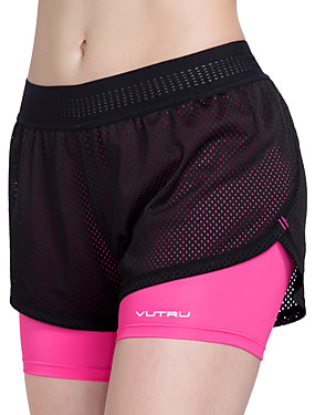 cheap Sports & Outdoors-Women's Running Shorts Athletic Shorts Bottoms 2 in 1 Liner Mesh Spandex Sport Fitness Gym Workout Trail Breathable Quick Dry Fuchsia Sky Blue Fashion / High Elasticity