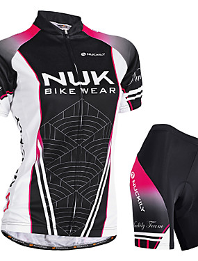 cheap Sports & Outdoors-Nuckily Women's Short Sleeve Cycling Jersey with Shorts Black Gradient Bike Shorts Jersey Padded Shorts / Chamois Waterproof Breathable Ultraviolet Resistant Waterproof Zipper Reflective Strips Sports