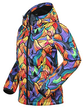 cheap Sports & Outdoors-Women's Hiking Jacket Winter Outdoor Camo Thermal / Warm Waterproof Windproof Breathable Jacket Fleece Softshell Waterproof Camping / Hiking Hunting Ski / Snowboard Black / Red and White / Black