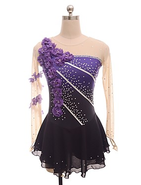 cheap Sports & Outdoors-Figure Skating Dress Women's Girls' Ice Skating Dress Purple Flower Halo Dyeing Spandex Micro-elastic Professional Competition Skating Wear Floral / Botanical Fashion Rhinestone Long Sleeve Latin