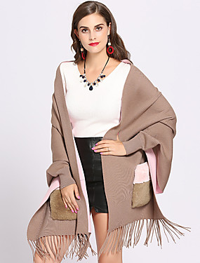 cheap Women's Clothing-Long Sleeve Capes Core Spun Yarn Wedding / Party / Evening Women's Wrap With Tassel