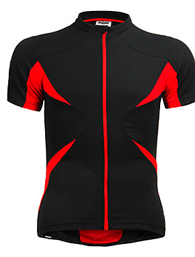 cheap Sports & Outdoors-Jaggad Men's Unisex Short Sleeve Cycling Jersey Polyester Elastane Red+Black Patchwork Bike Jersey Top Mountain Bike MTB Road Bike Cycling Breathable Quick Dry Sports Clothing Apparel