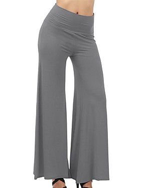 cheap Sports & Outdoors-Women's High Waist Yoga Pants Palazzo Wide Leg Pants / Trousers Butt Lift Breathable Dark Grey White Army Green Cotton Zumba Running Dance Plus Size Sports Activewear Micro-elastic Loose / Burgundy