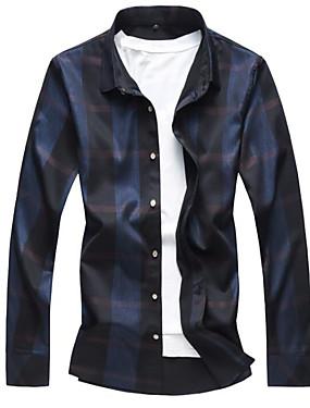 voordelige Weekly Deals-Heren Overhemd Werk Kleurenblok Slank Zwart / Lange mouw