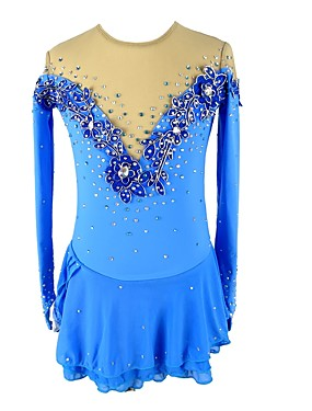 cheap Sports & Outdoors-Figure Skating Dress Women's Girls' Ice Skating Dress Blue Flower Spandex Micro-elastic Professional Competition Skating Wear Floral / Botanical Fashion Rhinestone Long Sleeve Latin Dance Folk Dance