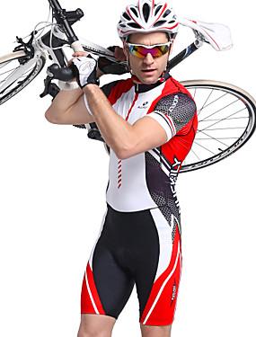 cheap Sports & Outdoors-Nuckily Men's Short Sleeve Triathlon Tri Suit Red Stripes Bike Breathable Anatomic Design Ultraviolet Resistant Sports Polyester Spandex Stripes Triathlon Clothing Apparel / Stretchy / Advanced