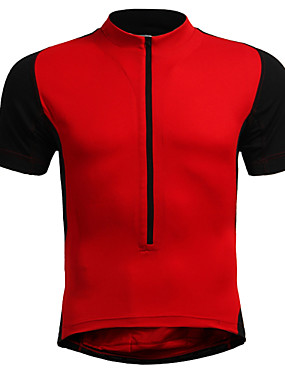 cheap Sports & Outdoors-Jaggad Men's Short Sleeve Cycling Jersey Black Black / Orange Red Plus Size Bike Jersey Mountain Bike MTB Road Bike Cycling Breathable Sports Nylon Elastic Clothing Apparel / Stretchy