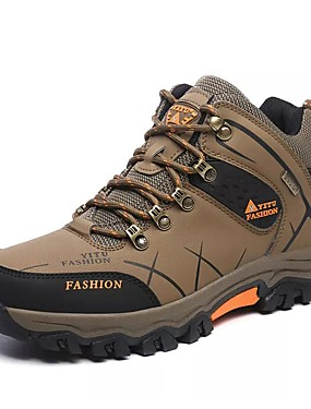 cheap Sports & Outdoors-Men's Hiking Shoes Hiking Boots Thermal / Warm Waterproof Shock Absorption Non-Skid High-Top Non-slip Steel Buckle Outsole Pattern Design Hiking Climbing Mountaineering Autumn / Fall Winter Black