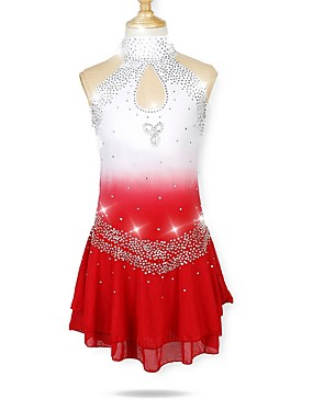 cheap Sports & Outdoors-Figure Skating Dress Women's Girls' Ice Skating Dress Red Halo Dyeing Spandex Micro-elastic Professional Competition Skating Wear Fashion Rhinestone Sleeveless Latin Dance Folk Dance Figure Skating