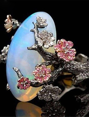 cheap Fashion Rings-Women's Statement Ring Synthetic Opal 1pc Black Copper Stone irregular Ladies Asian Romantic Birthday Gift Jewelry Retro Stylish Artisan Flower