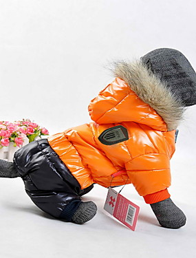 cheap Toys & Hobbies-Dog Coat Hoodie Winter Dog Clothes Orange Yellow Red Costume Cotton Color Block Keep Warm Windproof Sports XS S M L XL XXL