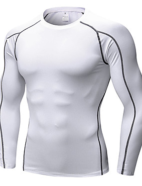 cheap Sports & Outdoors-Men's Compression Shirt Running Shirt Athletic Long Sleeve Elastane Breathable Quick Dry Anatomic Design Running Exercise & Fitness Racing Leisure Sports Basketball Sportswear Sweatshirt Base Layer