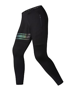 cheap Sports & Outdoors-BARBOK Men's Running Pants Elastic Waistband Pocket Cropped Pants Breathable Moisture Wicking Reflective Strips Black Elastane Gym Workout Running Fitness Sports Activewear Stretchy Skinny