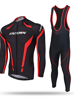 cheap Sports & Outdoors-XINTOWN Men's Long Sleeve Cycling Jersey with Bib Tights Red / black Solid Color Bike Pants / Trousers Jersey Bib Tights Breathable 3D Pad Reflective Strips Back Pocket Sweat-wicking Winter Sports