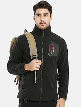 cheap Sports & Outdoors-Men's Hiking Fleece Jacket Winter Outdoor Thermal / Warm Lightweight Breathable Stretchy Winter Jacket Fleece Single Slider Camping / Hiking Ice Skate Ski Dark Grey / Army Green / Blue