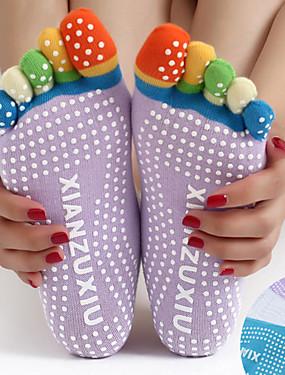 cheap Sports & Outdoors-Women's Grip Yoga Socks Five Toe Socks Toe Socks Non-Skid Sweat-wicking Non Slip Pilates Bikram Barre Sports Winter Black Yellow+Blue White+Blue