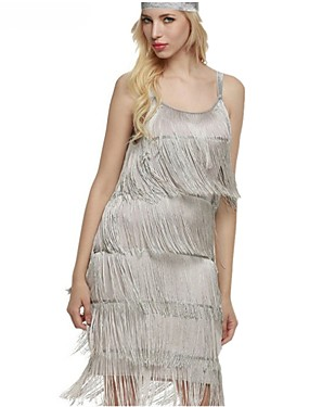cheap Toys & Hobbies-The Great Gatsby Charleston Vintage 1920s Roaring Twenties Summer Flapper Dress Party Costume Masquerade Women's Tassel Costume Black / White / Gray Vintage Cosplay Party Homecoming Prom