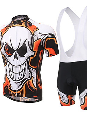 cheap Sports & Outdoors-XINTOWN Men's Women's Short Sleeve Cycling Jersey with Bib Shorts Green Blue Pink Skull Bike Bib Shorts Jersey Clothing Suit Breathable 3D Pad Quick Dry Ultraviolet Resistant Sweat-wicking Winter
