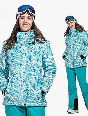 cheap Sports & Outdoors-Vector Women's Ski Jacket with Pants Snowboarding Winter Sports Warm Over-charge Protection Detachable Cap Eco-friendly Polyester Softshell Jacket Bib Pants Ski Wear