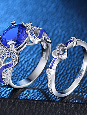 cheap Fashion Rings-Women's Statement Ring Ring Ring Set Sapphire Synthetic Sapphire 2pcs Silver Copper Platinum Plated Enamel Four Prongs Ladies Romantic Fashion Wedding Party Jewelry Hollow Out Solitaire Round Cut