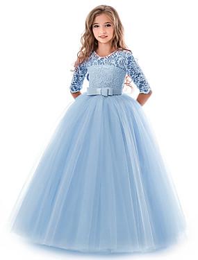 povoljno Trgovina vjenčanja-Djeca Djevojčice Osnovni Jednobojni Kratkih rukava Haljina purpurna boja