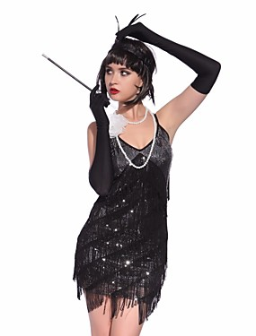 cheap Toys & Hobbies-Charleston Vintage 1920s The Great Gatsby Roaring 20s Flapper Dress Dress Women's Tassel Sequin Costume Black / Golden / Black+Sliver Vintage Cosplay Party Homecoming Prom Sleeveless Mini