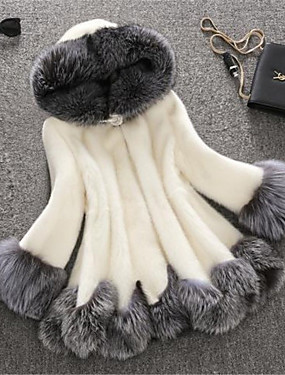cheap 11-11 Super Sale-Women's Winter Plus Size Long Faux Fur Coat, Color Block White Hooded Long Sleeve Faux Fur White / Black