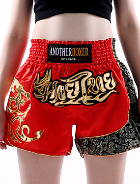 cheap Sports & Outdoors-Muay Thai Shorts / Boxing Shorts For Martial Arts, Grappling, UFC Elastic Waistband Embroidery Breathable, Quick Dry, Wearable Polyester Adults / Kids - Red ANOTHERBOXER