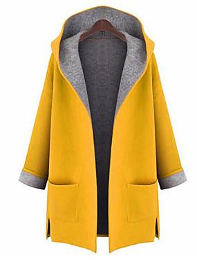 preiswerte Damen Überbekleidung-Damen Ausgehen Street Schick Herbst Übergrössen Lang Mantel, Solide Mit Kapuze Langarm Polyester Gelb / Rote