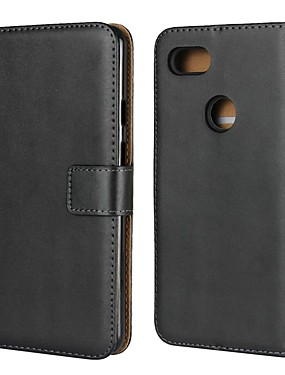 cheap Other Phone Case-Case For Google Google Pixel / Google Pixel XL / Pixel 2 Wallet / Card Holder / with Stand Full Body Cases Solid Colored Hard Genuine Leather
