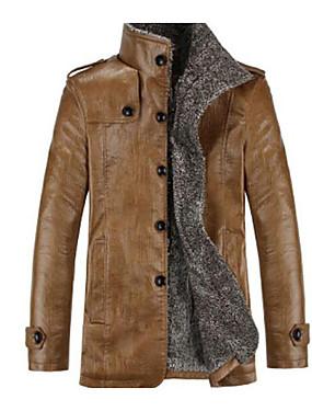 preiswerte Redaktionsauswahl-Herrn Alltag Grundlegend Herbst / Winter Übergrössen Standard Jacke, Solide Ständer Langarm PU Schwarz / Braun / Khaki