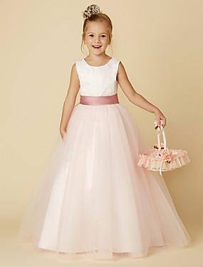 זול חנות החתונות-נסיכה עד הריצפה חתונה / יום הולדת / תחרות שמלות ילדה פרח - סאטן / טול ללא שרוולים עם תכשיטים עם תחרה / אפליקציות