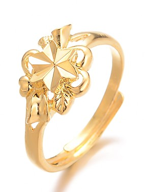 billige Fashion Rings-Dame Ring Justerbar ring 1pc Gull Gullbelagt damer Luksus Overdrivelse Bryllup Gave Smykker Klassisk Søtt