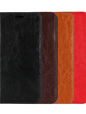 cheap Other Phone Case-Case For LG LG Nexus 5X / LG G7 / LG G7 ThinQ Wallet / Card Holder / with Stand Full Body Cases Solid Colored Hard Genuine Leather / LG G6