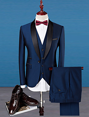 cheap The Wedding Store-Tuxedos Tailored Fit Shawl Collar Single Breasted One-button Wool / Polyester Solid Colored
