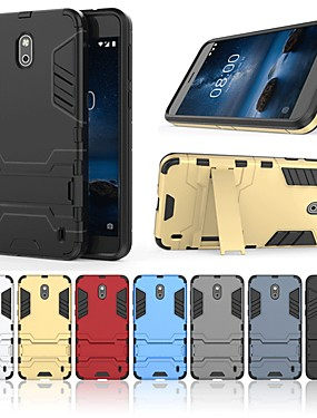 cheap Other Phone Case-Case For Nokia Nokia 2 Shockproof / with Stand Back Cover Solid Colored / Armor Hard PC