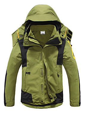 cheap Sports & Outdoors-Men's Hiking 3-in-1 Jackets Winter Outdoor Patchwork Thermal / Warm Waterproof Windproof UV Resistant 3-in-1 Jacket Softshell Jacket Top Full Length Visible Zipper Skiing Camping / Hiking Hunting