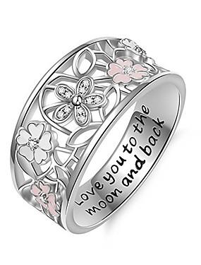 billige Fashion Rings-Dame Ring Micro Pave Ring 1pc Hvit Kobber Sirkelformet Europeisk trendy Romantikk Bryllup Stevnemøte Smykker Klassisk Søtt