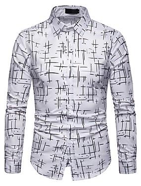 cheap Weddings & Events-Men's Geometric Slim Shirt Daily White / Black / Navy Blue / Long Sleeve