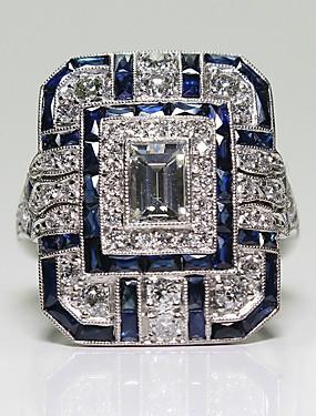 halpa 패션 링-Naisten Sormus peukalo 1kpl Sininen Metalliseos Circle Shape Eurooppalainen muodikas Romanttinen Häät Deitti Korut Perinteinen Emerald Cut Pave Sievä