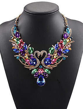 cheap Jewelry Deal-Women's Statement Necklace Bib necklace Swan Animal Rainbow Statement Ladies Luxury Bohemian Synthetic Gemstones Rhinestone Alloy Rainbow White Red Red Necklace & Earrings Colorful Necklace & Earrings