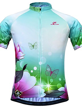 cheap Sports & Outdoors-JESOCYCLING Women's Short Sleeve Cycling Jersey Green Floral Botanical Bike Jersey Top Mountain Bike MTB Road Bike Cycling Breathable Quick Dry Moisture Wicking Sports Clothing Apparel / Stretchy