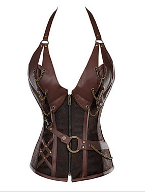 cheap Toys & Hobbies-Cosplay Victorian Steampunk 18th Century Overbust Corset Women's Spandex Costume Black / Brown Vintage Cosplay Sleeveless Short Length